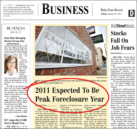 Record Foreclosures in 2011?