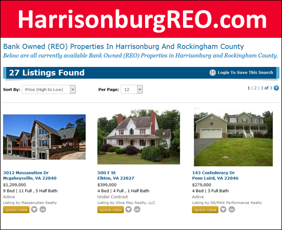 Bank Owned Properties in Harrisonburg, Rockingham County