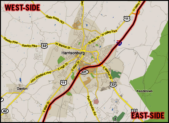 East-West Divide of Greater Harrisonburg