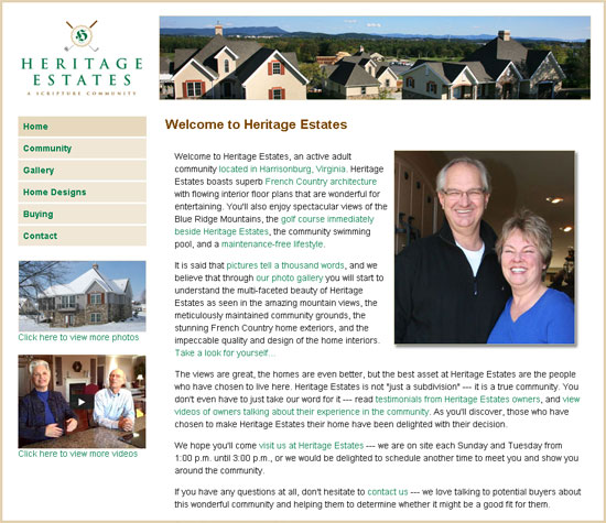 New Heritage Estates Web Site