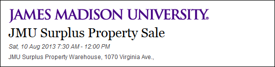 JMU Surplus Sale
