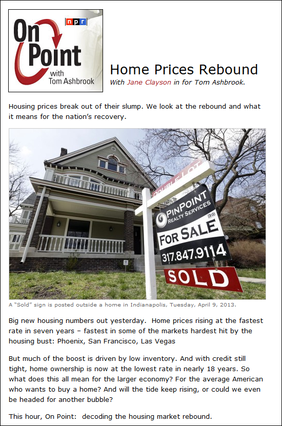 NPR: Home Prices Rebound