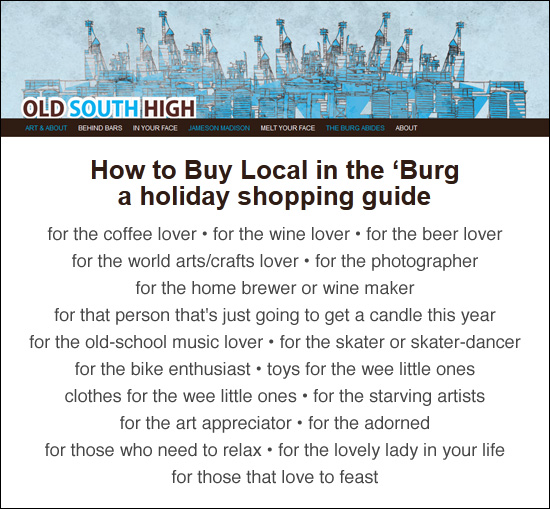 Local Holiday Shopping Guide from OldSouthHigh.com