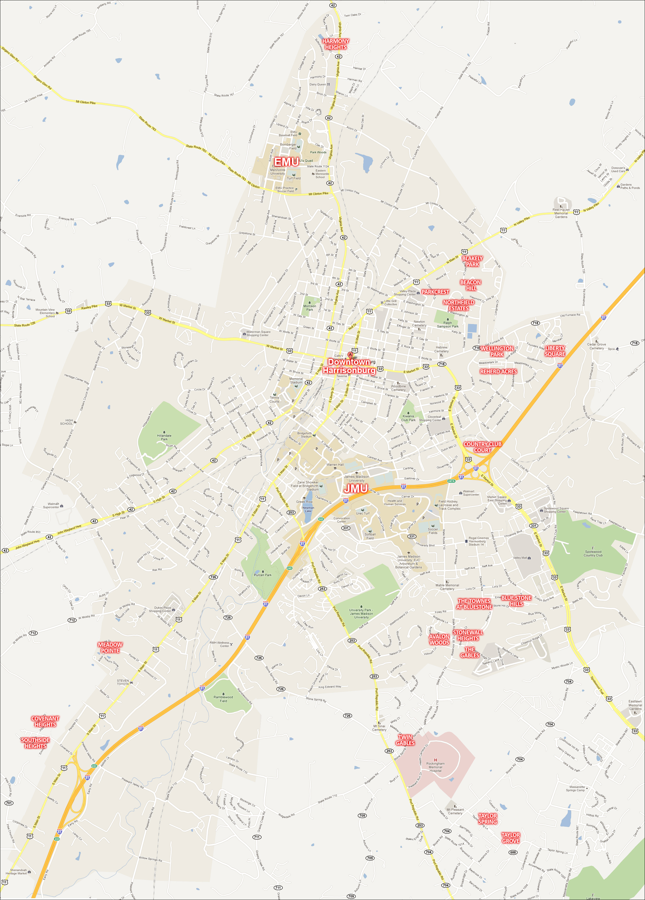 Printable Map Of Townhouse Communities In And Around Harrisonburg